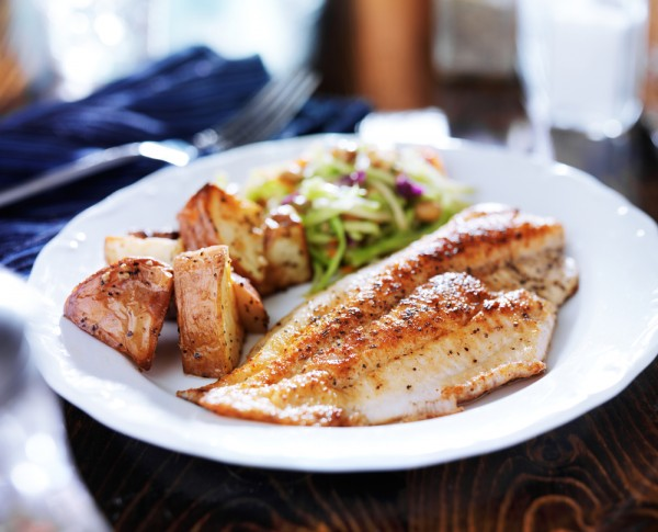 An example of a moderate carb dinner could be fish or other protein, with potatoes, and a salad or veggie slaw.